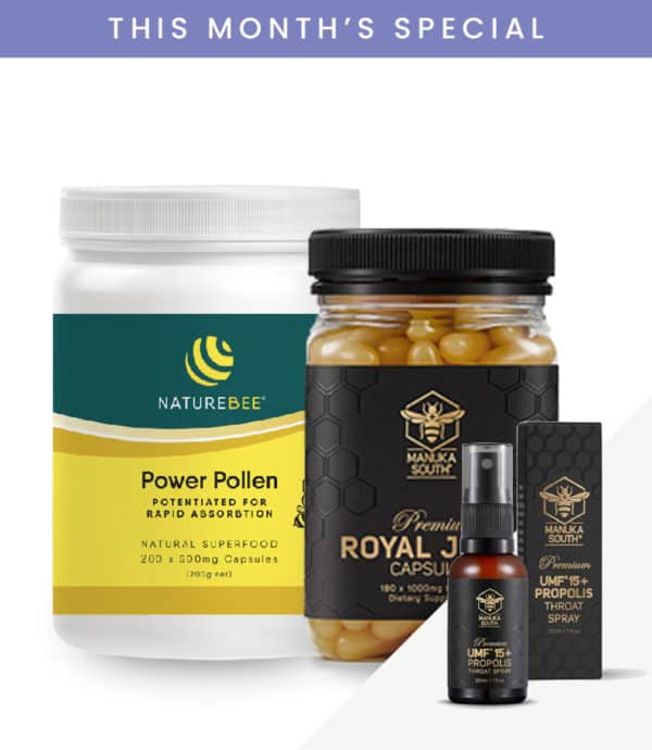 NatureBee Power Pollen Power Pack + Royal Jelly (180 caps) + Throat Spray
